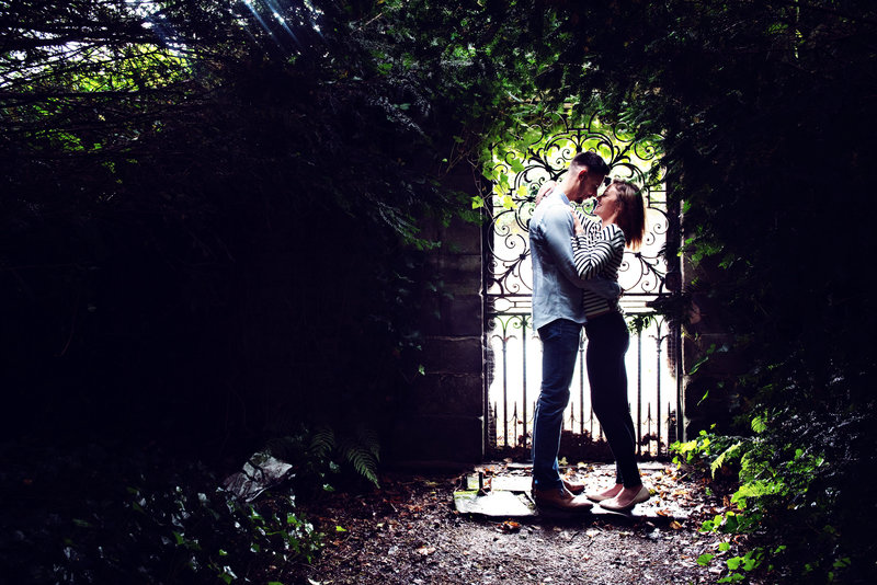 Couple in a secret garden in Dunham Massey