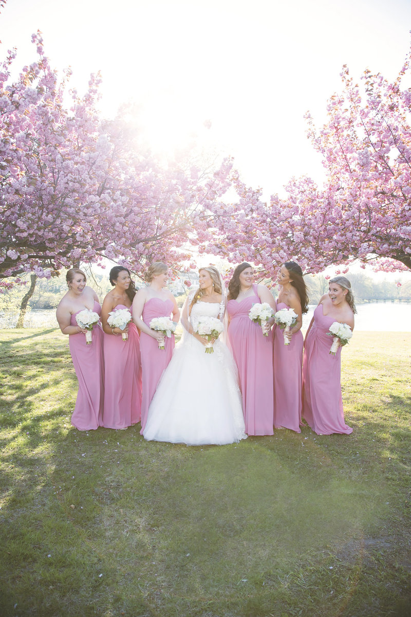 bride and bridesmaids in pink  laughing with cherry blossom trees
