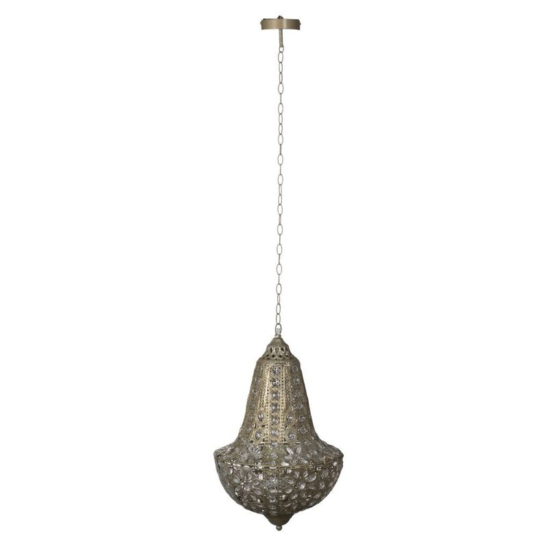 Antiqued metal chandelier with closed frame and crystal embellishments from Hockman Interiors