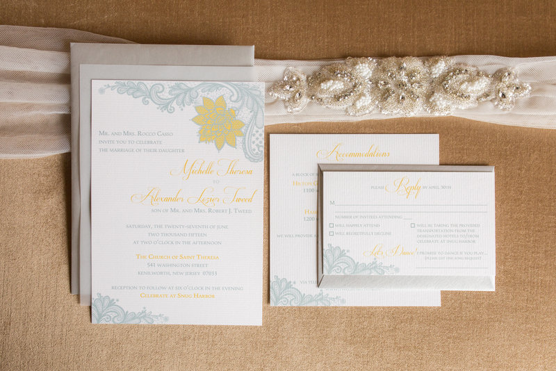 Wedding invitations in gray and yellow