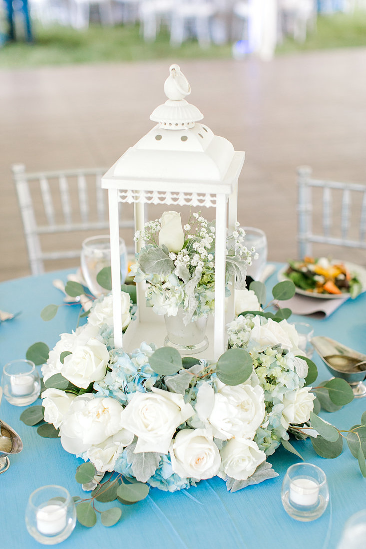 Wedding-Inspiration-Reception-Walnut-Way-Flower-Centerpieces-White-Blue-Greenery-Photo-by-Uniquely-His-Photography03