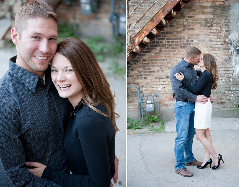 Urban engagement sessions downtown Fargo pics by Kris Kandel . She makes engagement sessions fun!