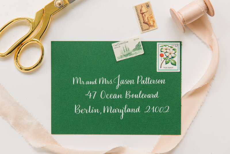 Classic and romantic calligraphy by Lewes Lettering Co in a green envelope