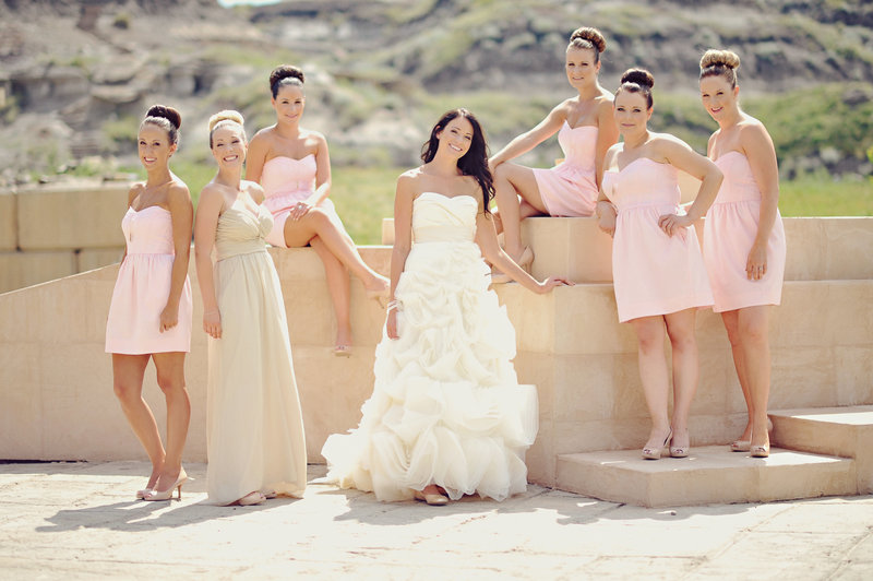 Bride and bridesmaids at Calgary wedding