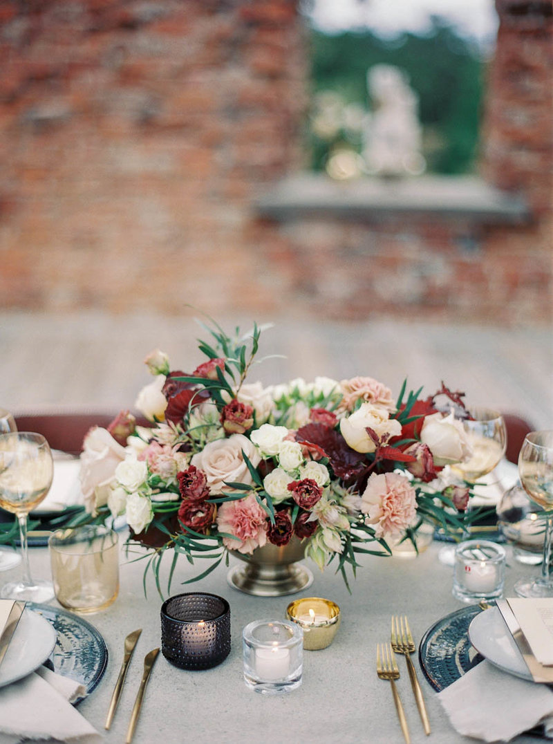 modern wedding table setting in fall colors and pastels