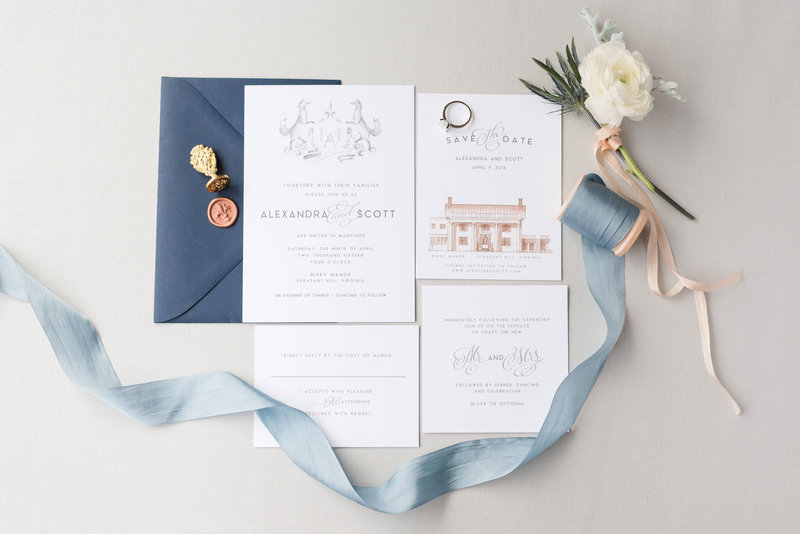 navy-french-blue-ribbon-wedding-invitation-suite-watercolor-crest-design-custom-photo