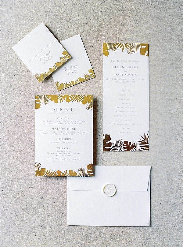Invitation Suite Gold White Wedding Dubai
