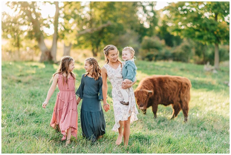 Dreamy sunset family session on farm.