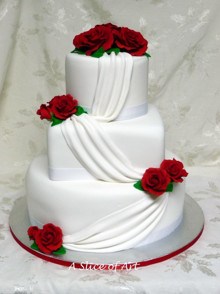 rose swag wedding cake