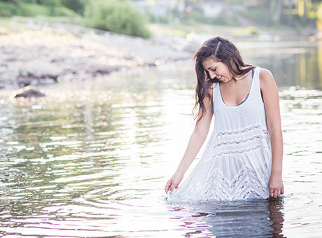 West Linn HIgh School Oregon senior photography girl wading in the river