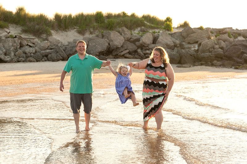 Young Family at Ft Monroe Beach Hampton Virginia