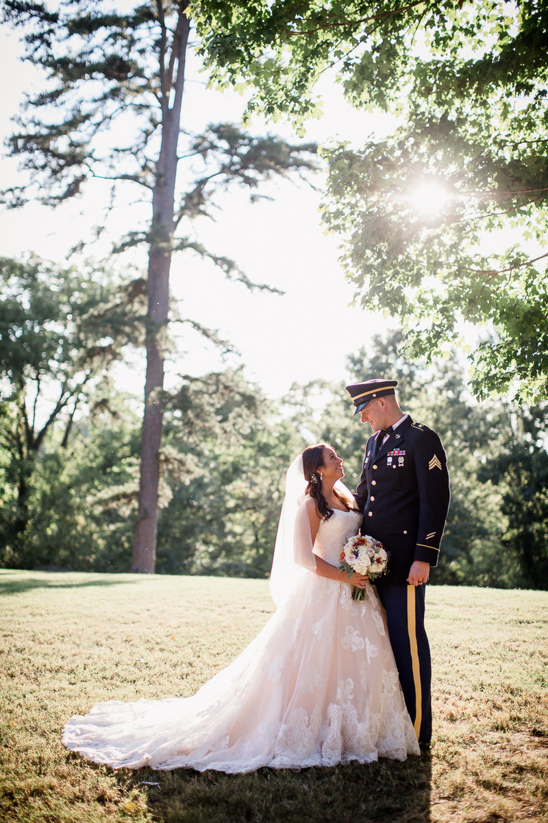 Couple standing in the sunlight at Sam Davis Home Wedding Venue by Knoxville Wedding Photographer, Amanda May Photos.