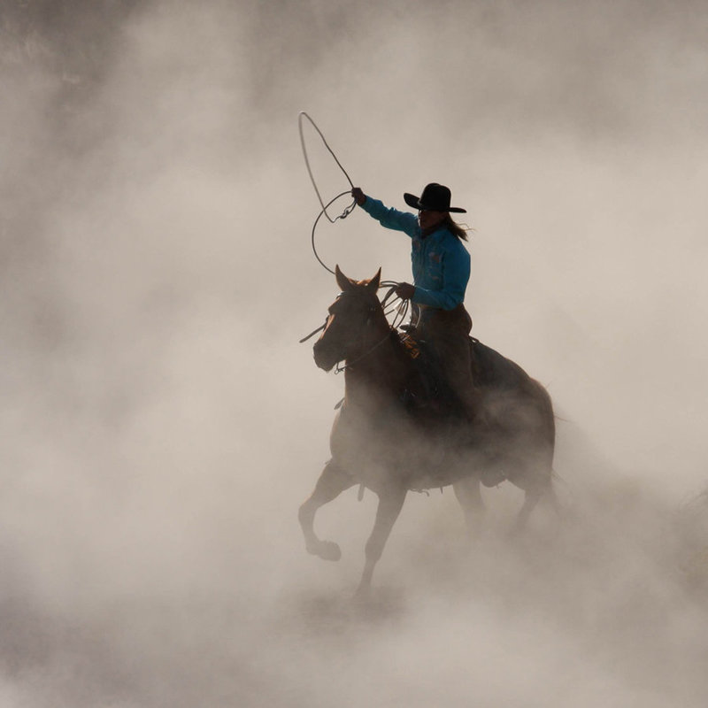 Cowboy and horse in dust photography workshops wenatchee Lynette Smith Photography