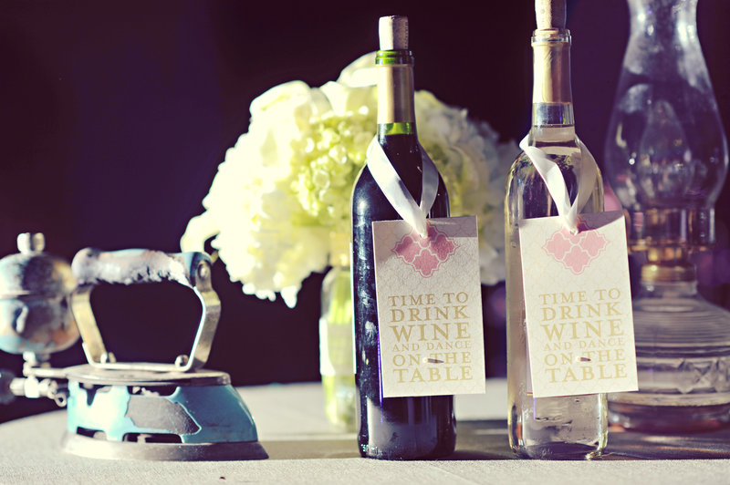 Wedding stationery for bottles of wine at a Calgary wedding