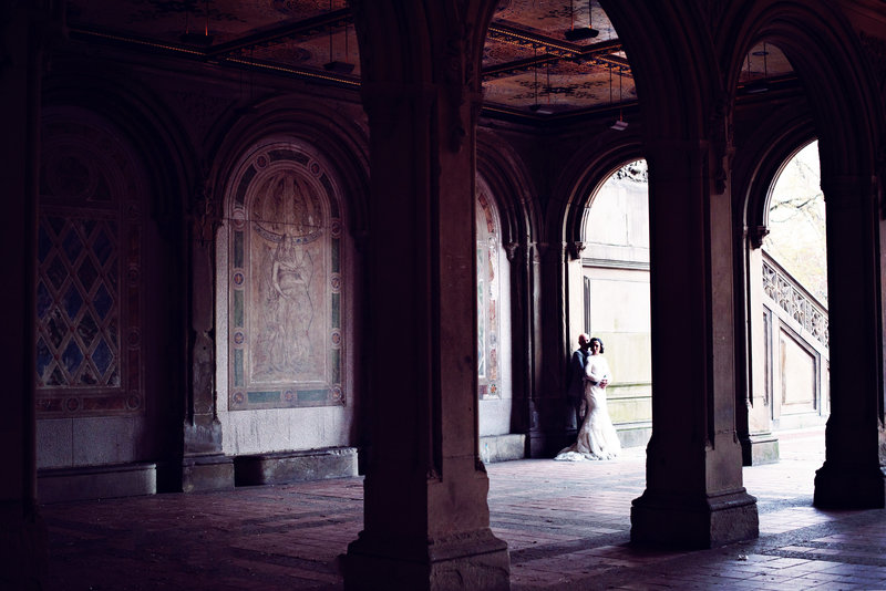 Bride and Groom in the arches in Central Park on their Elopement