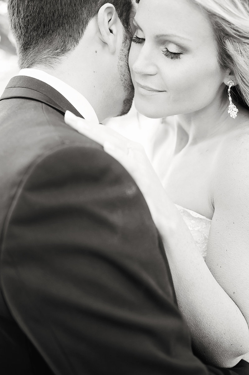 black and white bride and groom sweet moment