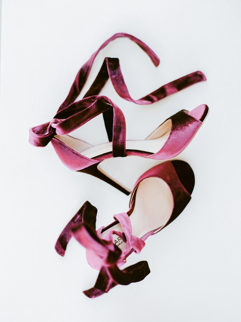 Burgandy Bride's wedding shoes