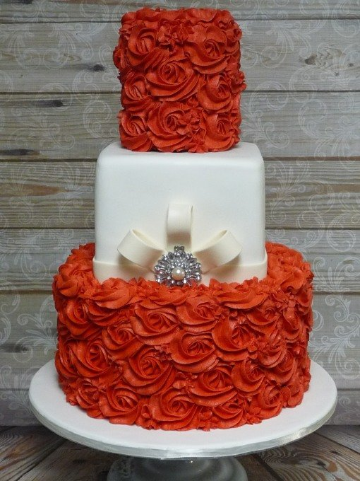 rosette red wedding cake