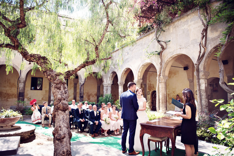 The ceremony at  The San Francesco Cloisters Sorrento Italy