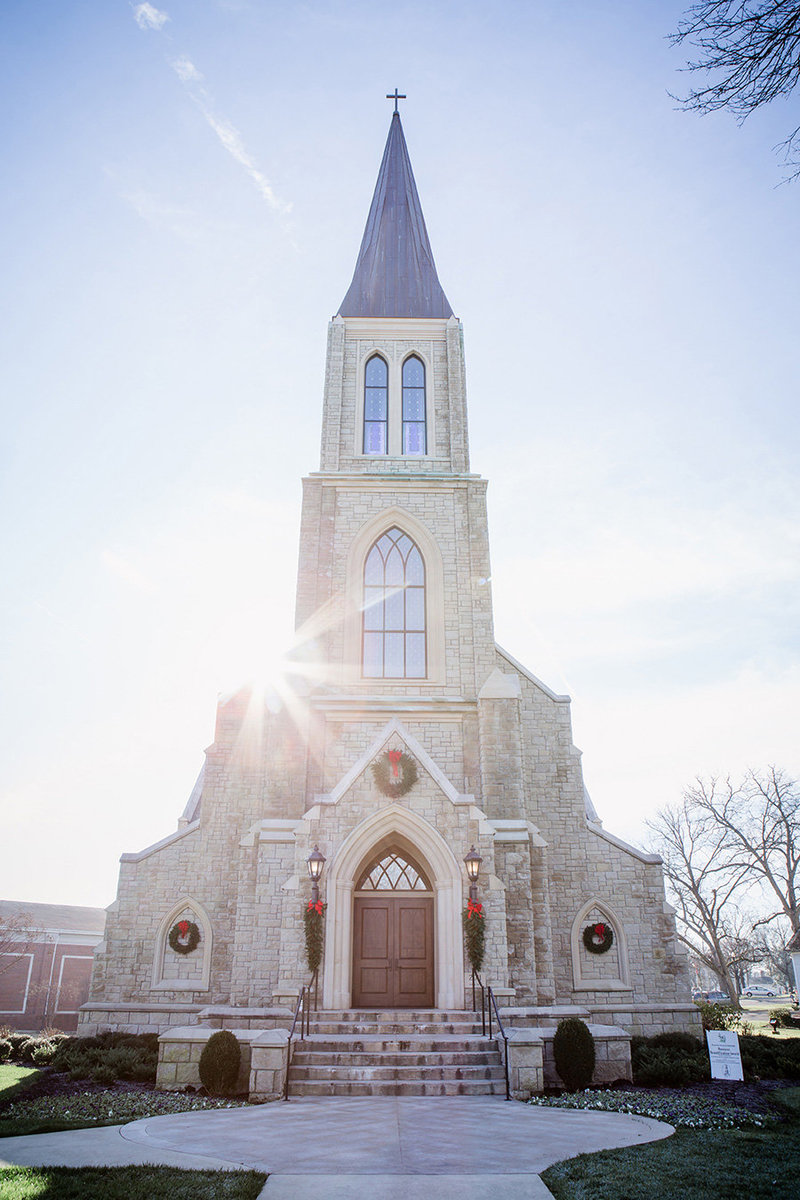 Lee University chapel with sun coming around it by Knoxville Wedding Photographer, Amanda May Photos.
