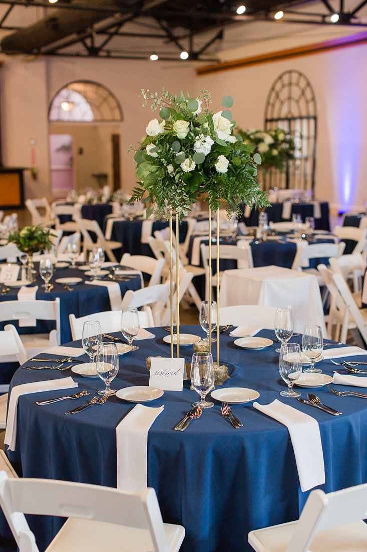 Wedding-Inspiration-Reception-Mellwood-Navy-Centerpieces-Greenery-Photo-by-Uniquely-His-Photography02