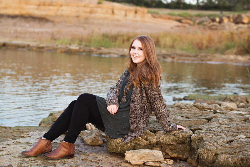 High School Senior by Lake Grapevine at Rockledge Park