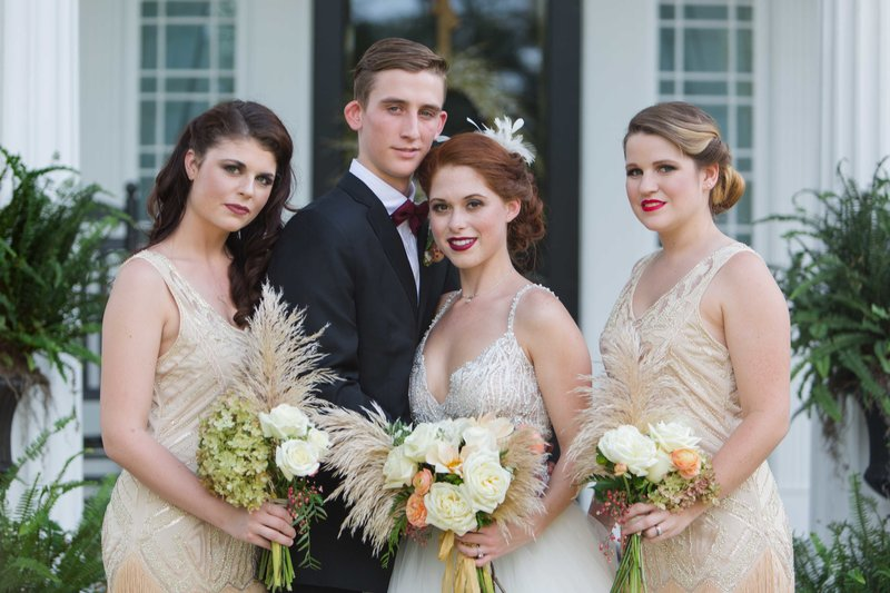 Great gatsby inspired wedding party on Parterre porch