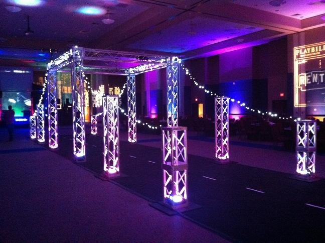 Trussing makes a great wedding and school design element.