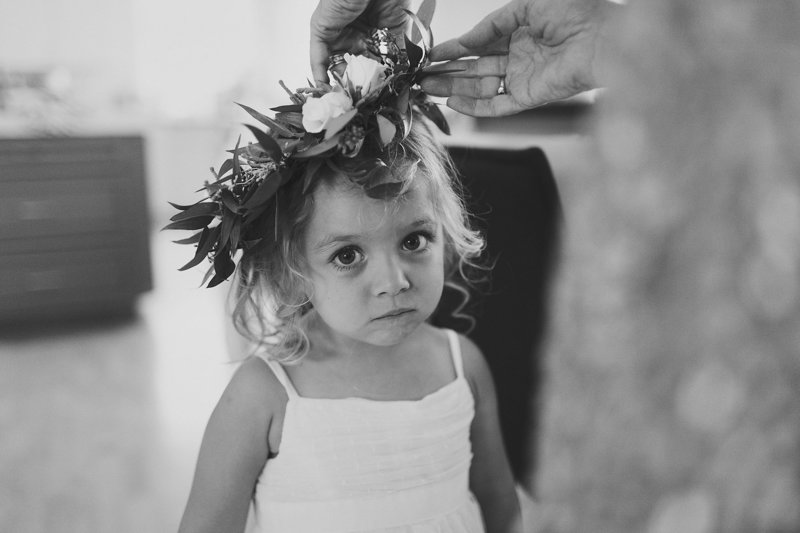 flowergirl wearing greenery headband