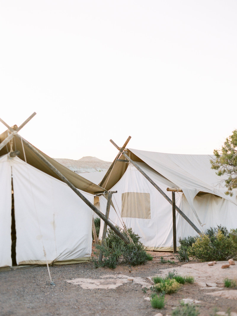 Glamping tent with flowers Under Canvas in Zion National Park