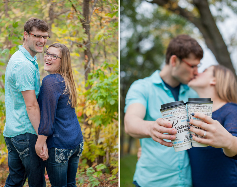 Beans Coffee house Fargo was where this couple got engaged so we used their coffee cups  in their engagement session photographed by Kris Kandel