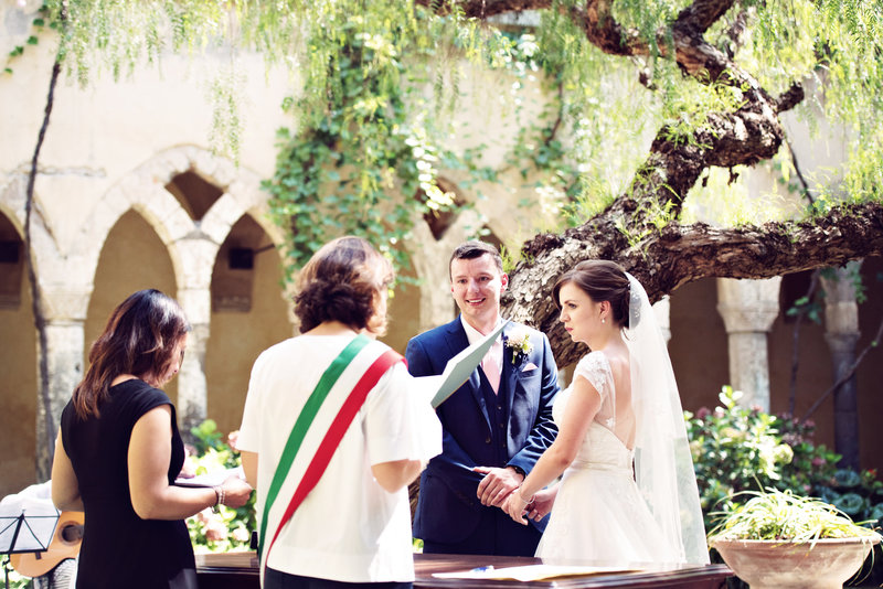 Bride and Groom during the ceremony in the San Francesco Cloisters Sorrento Italy