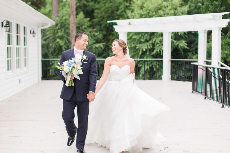 Woman's Club of Portrait wedding with bride and groom portraits by Hampton Roads Wedding Photographer