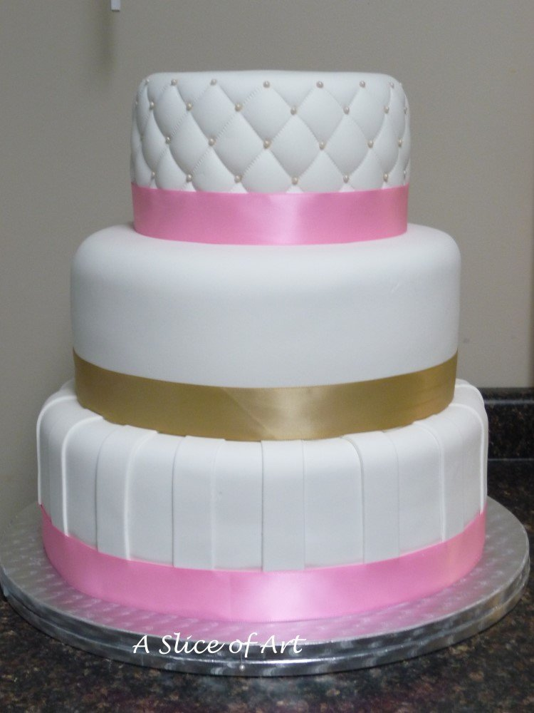 quilted striped wedding cake