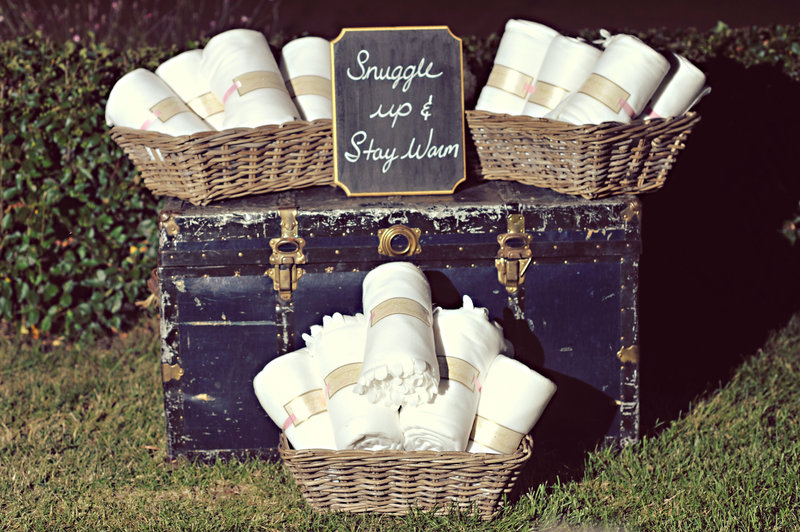 Wedding blankets for guests at an outdoor wedding in Calgary, Alberta