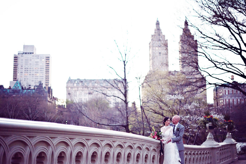 Bride and Groom on Bow Bridge in Central Park New York City