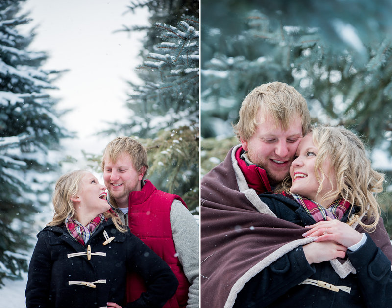 Winter snow engagement sessions in Fargo photographed by Kris Kandel. Winter vibes for esessions.