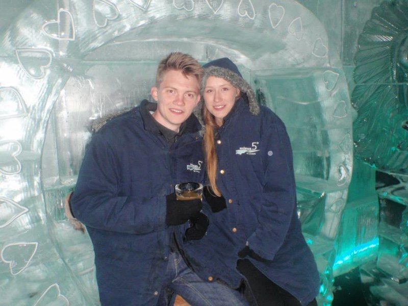 Harry Ward and Annie Melling Ice Bar