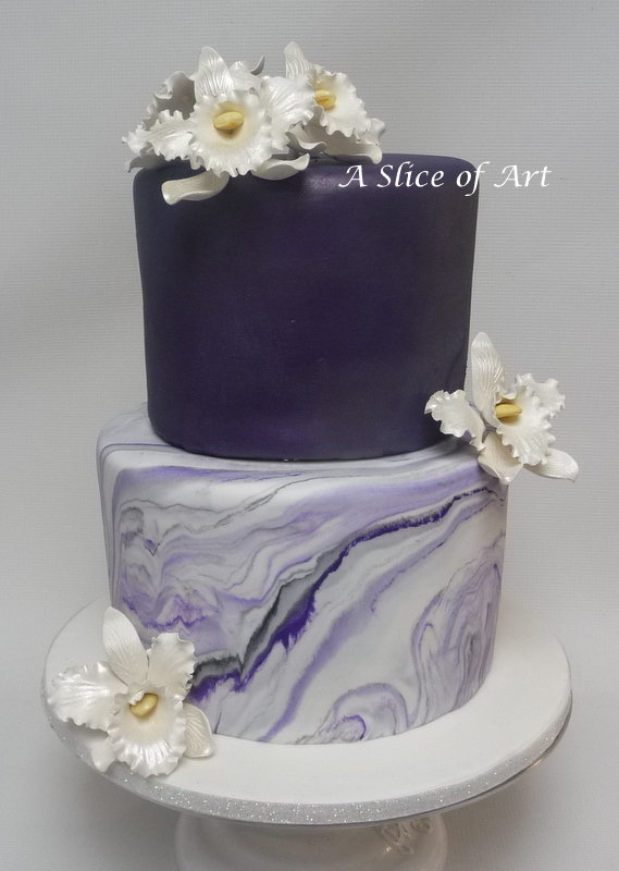 purple marbled wedding cake