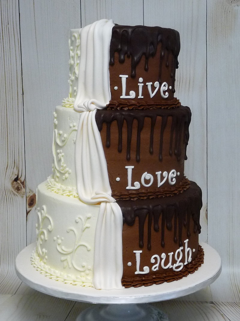 half and half wedding cake
