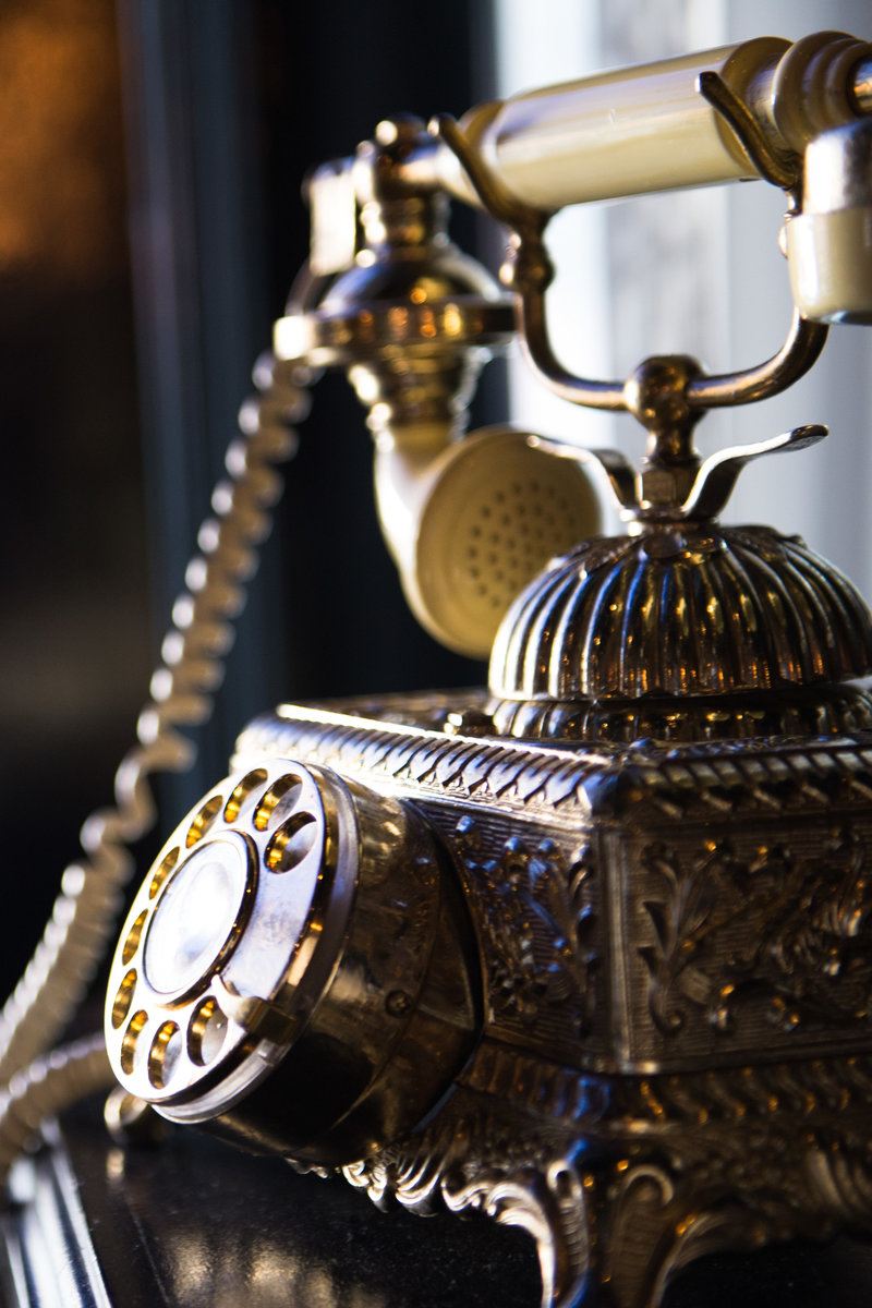 antique telephone, R&M Champagne Salon