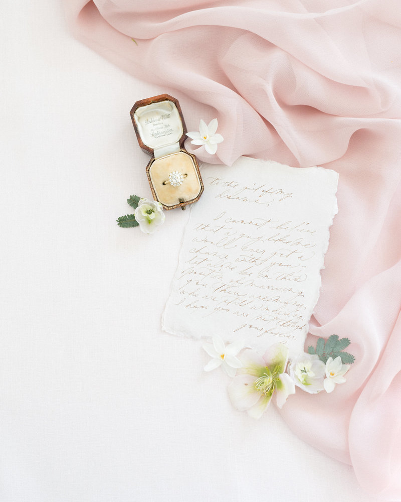 Vows in Calligraphy written on handmade paper.