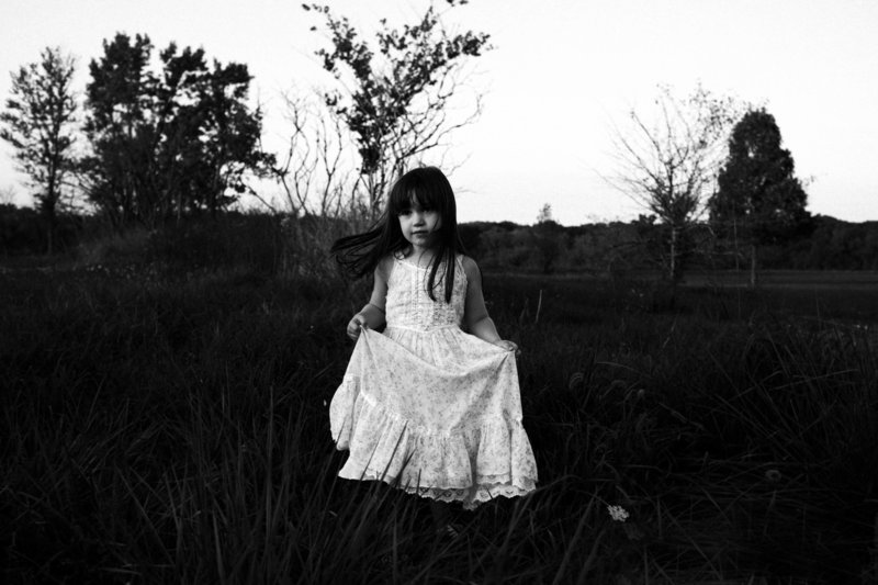 Hickory Creek Forest preserve session of girl in white floral vintage dress in a field