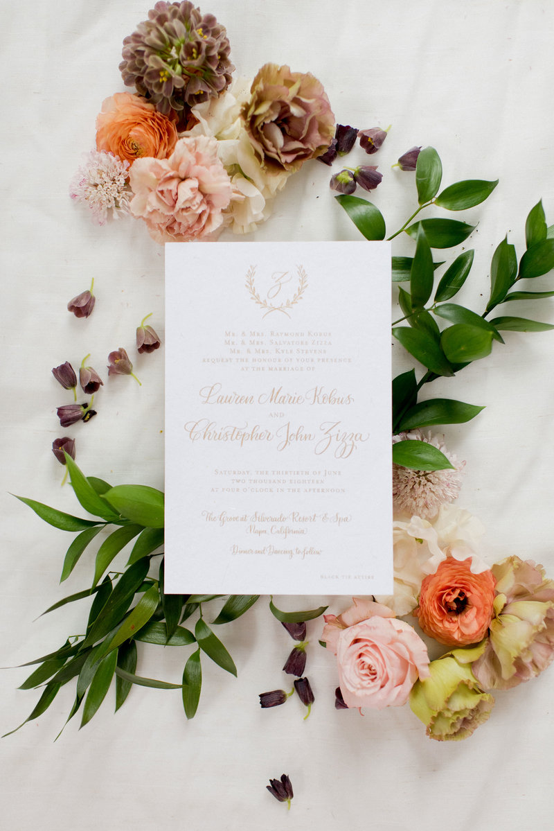 Laurel inspired gold ink calligraphy wedding invitations