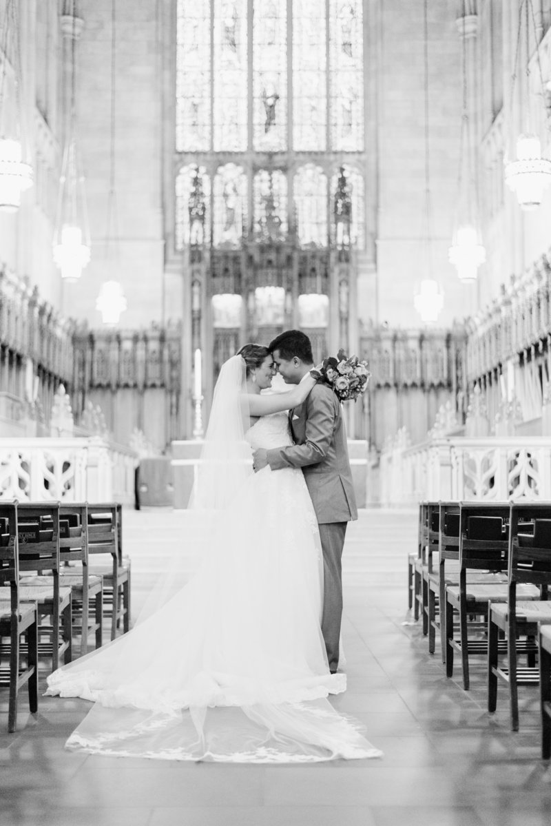 couple at duke chapel wedding