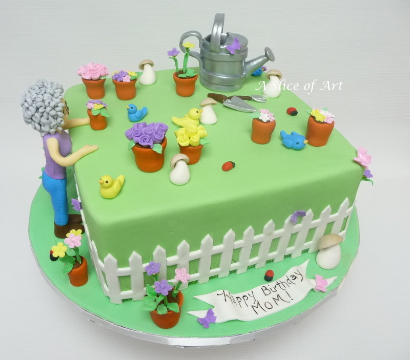 garden theme cake with character