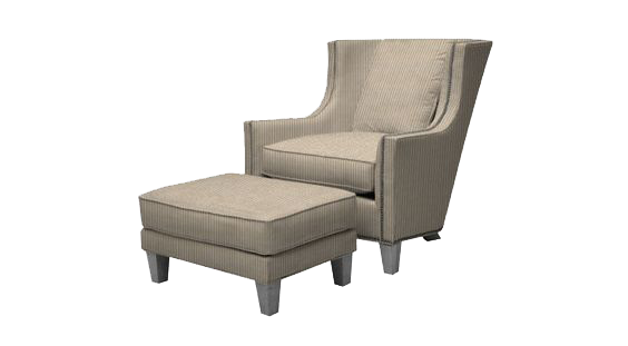 Tan living room chair and matching legrest from Hockman Interiors