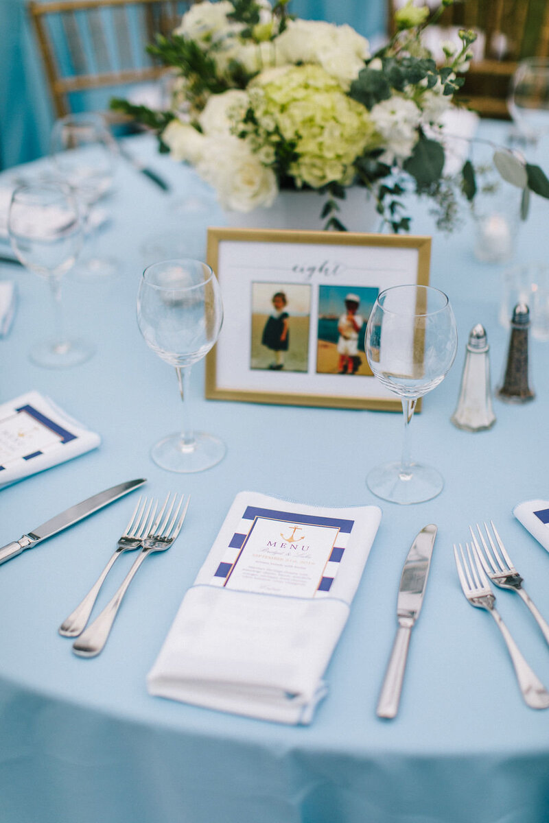 Blue Linen on Reception Table