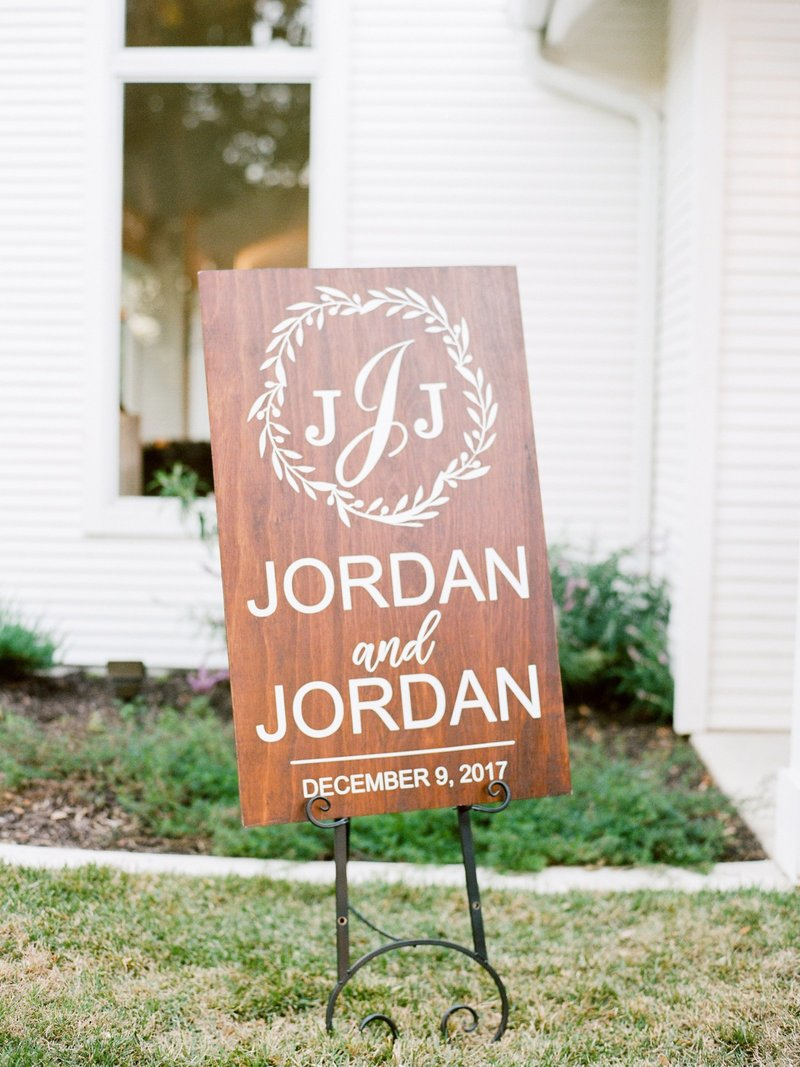Hand painted monogrammed ceremony sign