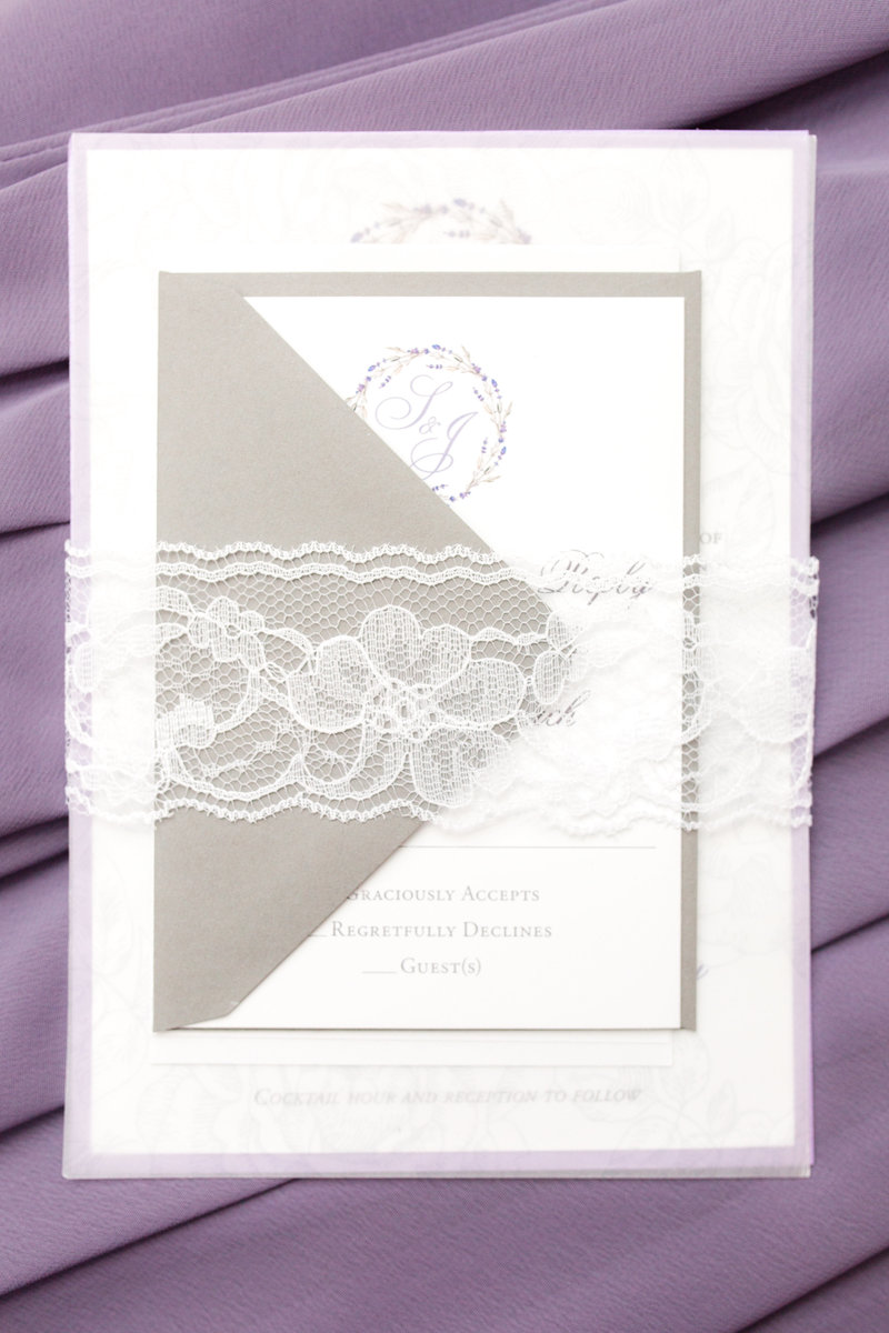Gray and purple invitation with lace